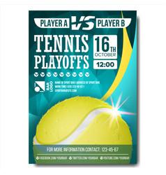 tennis poster design for sport bar vector image vector image