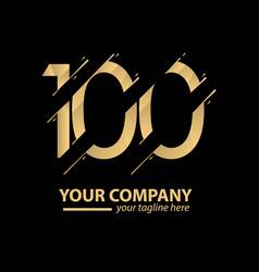 100 year anniversary luxury gold template design vector