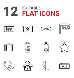 12 tag icons vector image
