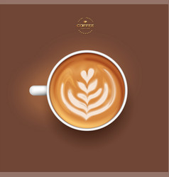 3d realistic isolated white cup coffee latte vector image