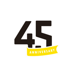 45 years anniversary number with yellow ribbon vector