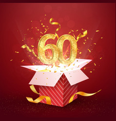 60 th years number anniversary and open gift box vector image