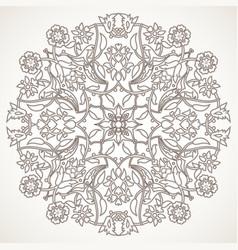 Arabesque vintage outline floral decoration print vector