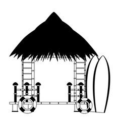 Beack kiosk stand in black and white vector
