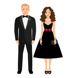 Beautiful couple in evening outfit vector