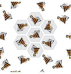 Bees and honeycombs seamless pattern abstract bee vector