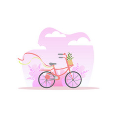 bicycle with basket flowers on spring or summer vector image