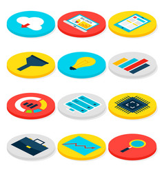 big data business isometric icons vector image