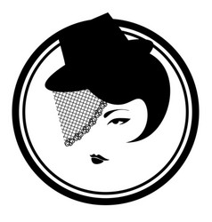 Black and white icon with vintage lady in veil vector