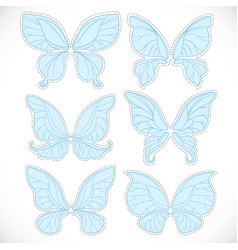 Blue fairy wings different form with dotted vector