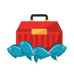 Box and fishes fishing equipment hobby vector