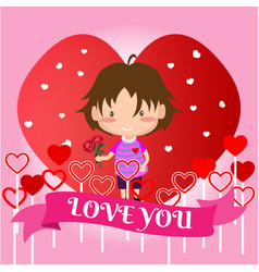 Boy love for valentines day on happy valentines vector