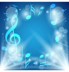 Bright blue abstract background with notes vector