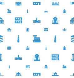 Buildings icons pattern seamless white background vector