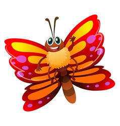 butterfly with red and yellow wings vector image