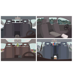 Cars interior design vehicles with sceneries set vector