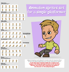 cartoon boy platformer animation sprites sheet set vector image