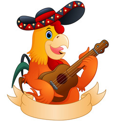 cartoon rooster playing guitar vector image