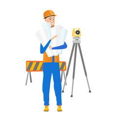 caucasian engineer holding twisted blueprints vector image
