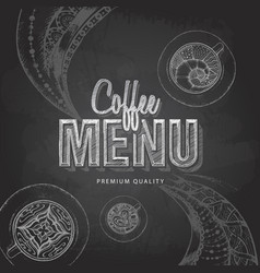 Chalk drawing typography coffee menu design vector