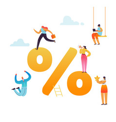 characters with percent sign financial symbol vector image