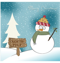 Christmas greeting card with funny snowman vector image