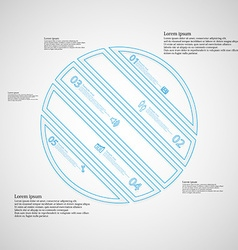 Circle infographic template askew divided to five vector