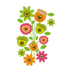 Color background with bouquet of retro flowers vector