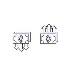 Cost reduction and growth money line icons vector