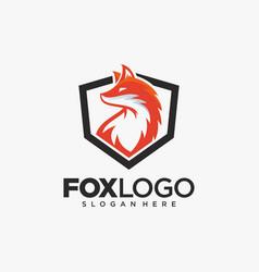creative fox animal modern simple logo vector image