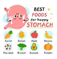Cute stomach with fork and knife best foods vector