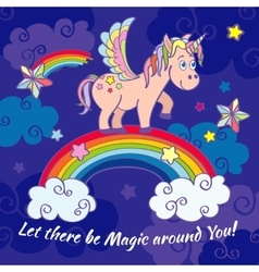 Cute unicorn and rainbow fairy background vector image