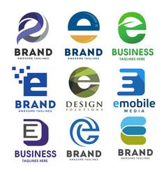 Elegant letter e logo set vector