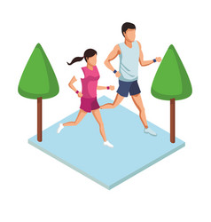 Fitness couple running avatar vector