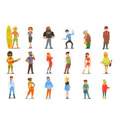 Flat set of various cartoon people vector