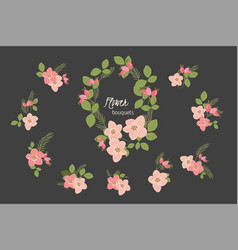 Floral rosehip retro vintage background vector