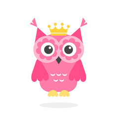 Funny pink owl with crown isolated on white vector