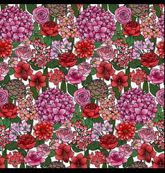 garden flowers seamless pattern vector image