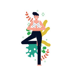 girl doing tree pose yoga with plant leaves vector image