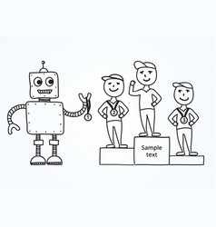Hand drawn cartoon robot awards winners vector