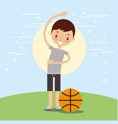 Happy boy with sport basketball ball vector