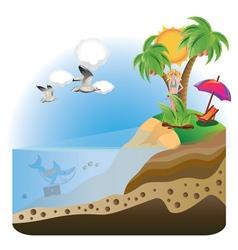 Happy Girl on Island vector image