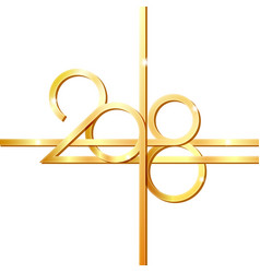 happy new year 2018 golden numbers vector image
