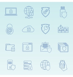 Information technology security icons set vector image