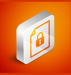 Isometric document and lock icon isolated on vector