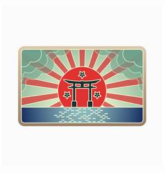 Japanese gate landmark vector