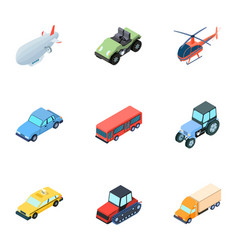 Land water air transport machines that people vector