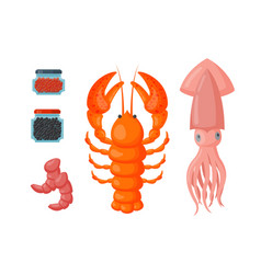 Lobster and squid flat vector