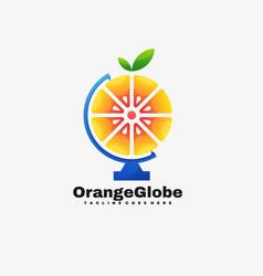 Logo orange globe gradient colorful style vector