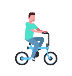 Man cycling electric bike over white background vector